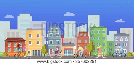 Active People Riding On Bicycle In City With Cityscape Vector Illustration. Bycyclists Active People