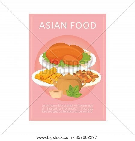 Asian Food Poster With Chinese Cuisine And Traditional Dishes Vector Illustration. Chicken And Side-