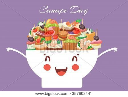 Canapes, Tapas, Appetizer Cute Kawaii Bowl With Caviar, Olives And Green Vegetables Cartoon Vector I