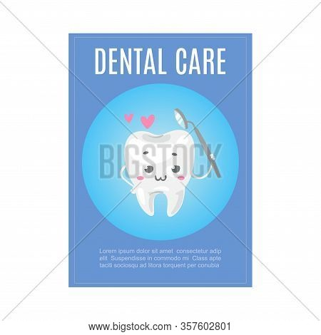 Cute Healthy White Tooth With Dental Health Care Tool Cartoon Vector Illustration For Children Denti