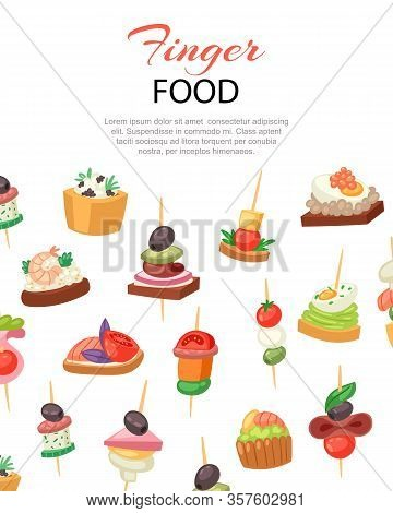 Canapes, Tapas On Plate, Appetizer, Finger Food With Caviar, Olives And Green Vegetables Cartoon Ban