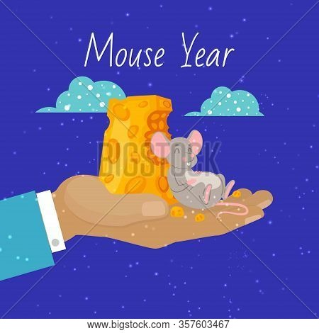 Mouse 2020 Year Symbol And Pieces Of Cheese Vector Cartoon Illustration Of Mouse Happily Nibbling On