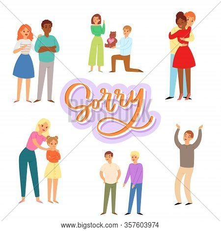 Sorry And Apologizing, Exuse Me Cartoon Characters Of Adults And Children Vector Illustration. Man,
