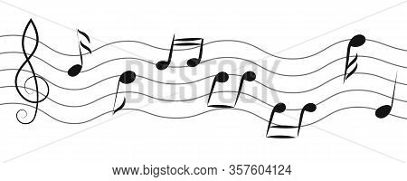 Set Of Doodle Musical Notes, Hand Drawn Illustration. Abstract Seamless Symbols. Waves Vector Icons