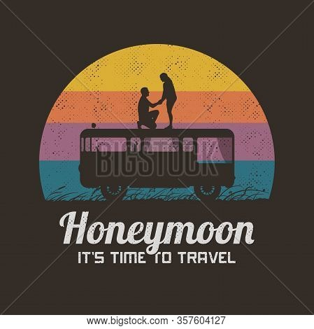 Lovers On Roof Of Retro Car. Romantic Marriage Proposal. Retro Illustration With Silhouette Of Lovin
