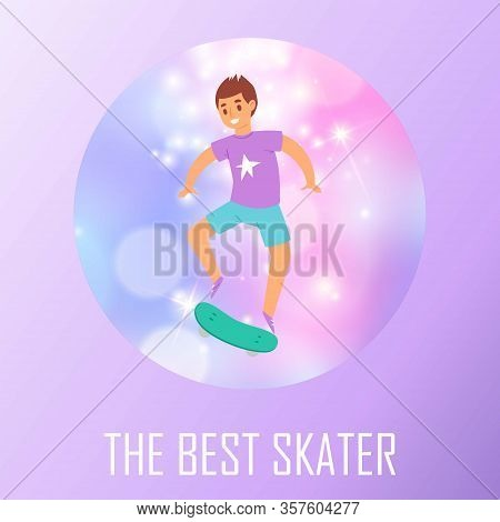 Best Scater Boy Poster With Teenager Boy Skating On Skateboard Blur Background Vector Illustration.