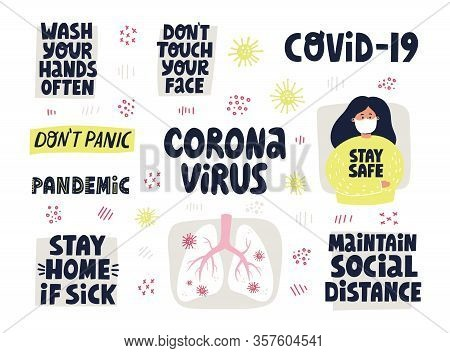 Coronavirus Prevention. Hand Drawn Vector Lettering For Banner, Flyer, Sticker. Wash Hands, Dont Tou