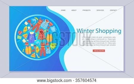 Winter Shopping Fashion And Winter Apparel With Scarf, Winter Cloths, Outerwear Seasonal Web Templat