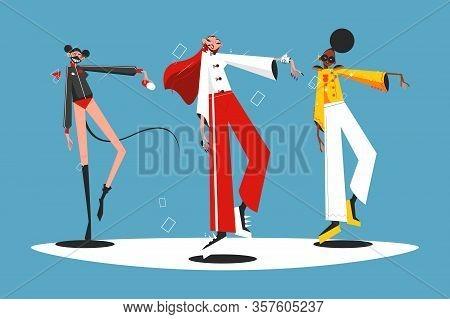 Trendy Pop Group Performance Vector Illustration. Multinational