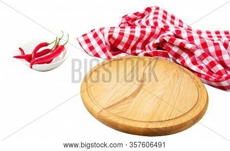 Empty Round Wooden Board And Checkered Tablecloth Isolated Over White Background Top View, Empty Woo