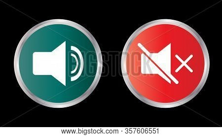 Sound Icon And Sound Off Icon Isolated  On Black Background, Sound Icon Vector Flat Modern, Disable