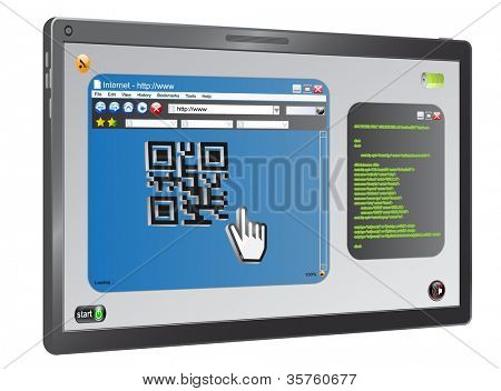 tablet computer scan Qr code as concept