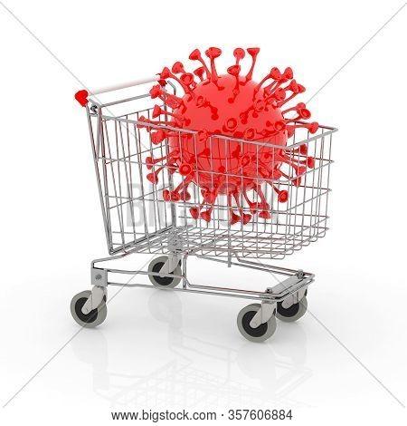 Shopping Cart With Big Coronavirus Inside It, 3d Illustration