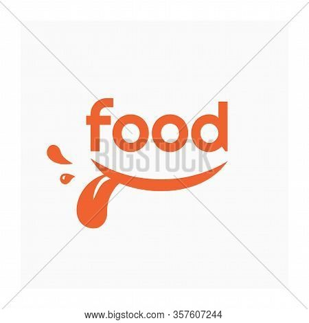 Food Logo With Smile. Orange Label For Food And Drink Industry. Grocery Store Logo. Vector Illustrat