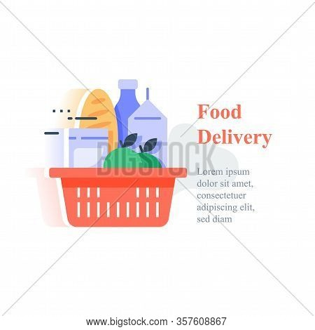 Full Red Basket Of Groceries, Supermarket Products Abundance, Food Purchase And Home Delivery, Consu