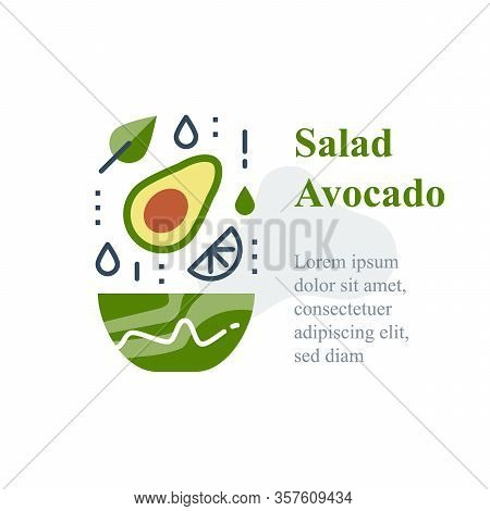 Delicious Avocado Salad, Simple Recipe, Eat Healthy Food, Full Bowl, Falling Ingredients, Nutritious