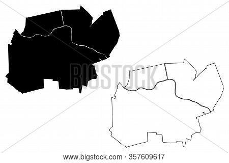 Alphen Aan Den Rijn City (kingdom Of The Netherlands, South Holland) Map Vector Illustration, Scribb