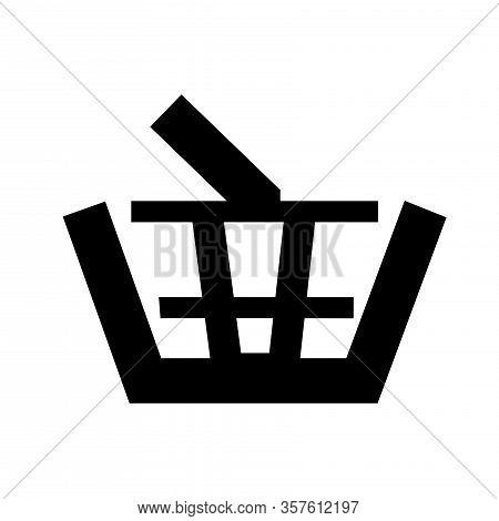Glyph Shopping Basket Goods Symbol. Market Store Cart Icon. Simple Bag Graphic Element. Consumerism
