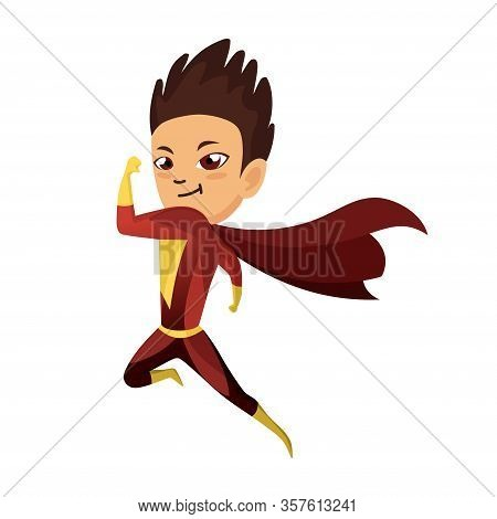 Kid Dressed As Superhero. Cute Superhero Kid In Colorful Costume. Funny Flat Isolated Kid Wearing Su