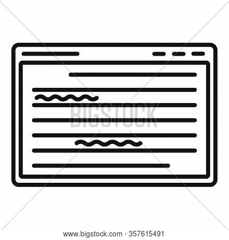 Web Editor Icon. Outline Web Editor Vector Icon For Web Design Isolated On White Background