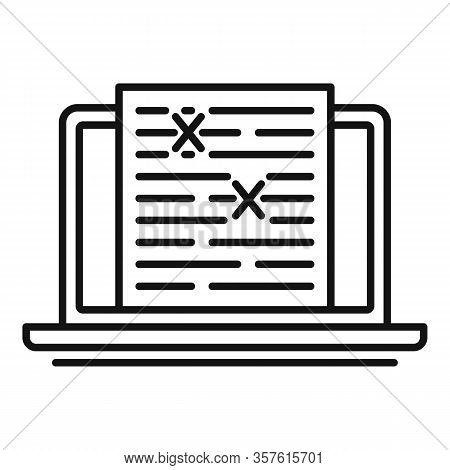 Review Laptop Editor Icon. Outline Review Laptop Editor Vector Icon For Web Design Isolated On White