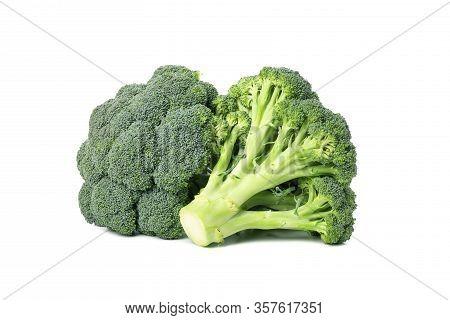 Broccoli Isolated On White Background. Fresh Vegetable