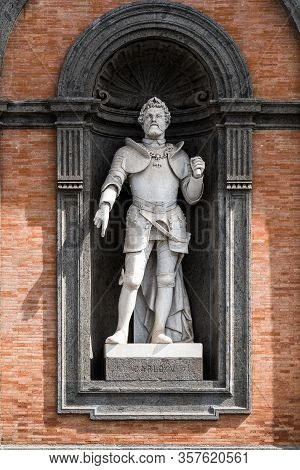 Statue Of Roger Ii At The Entrance Of Royal Palace In Naples, Called The Norman. He United Under A S