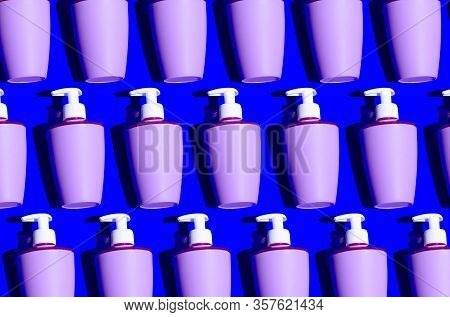 Liquid Soap With Dispenser Hygiene Pattern On Blue Background