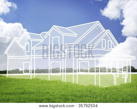 house vision on green meadow. Conceptual image