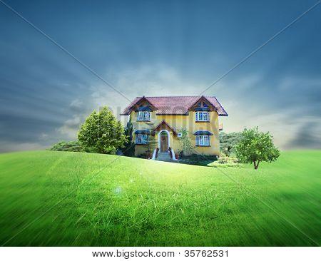 Yellow house on the prairie