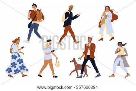 Vector Illustration Of Active People Looking Smartphone Set. Woman And Man Walking, Using Mobile Pho