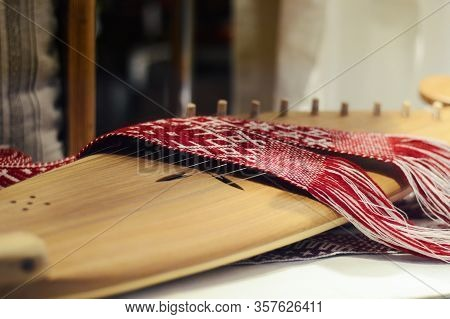 Psaltery, Latvian Kokles, Zither, Ancient Traditional Folk Instrument With Decoration