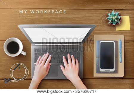 Realistic Desktop Workplace Mockup Laptop Identity. Realistic Workplace. Desktop Top View. Pen, Smar