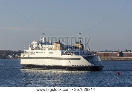 Fairhaven, Massachusetts, Usa - March 11, 2019: Passenger And Vehicle Ferry Woods Hole Outbound From
