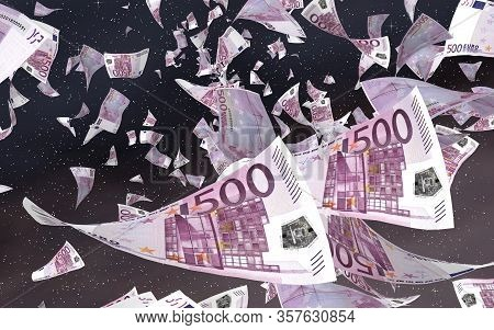 Flying Euro Banknotes On A Outer Space Starry Background. Money Flying In The Outer Space. 500 Euro