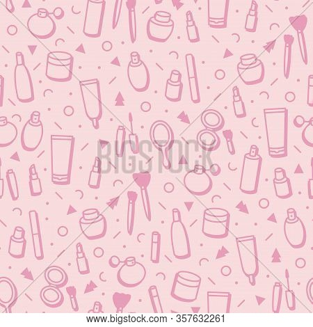 Cosmetic Products Seamless Pattern. Cartoon Make Up Background. Lipstick, Mascara, Perfume, Eyeshado