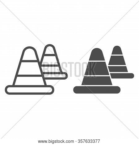 Roadblock Warning Cone Line And Solid Icon. Traffic And Road Protection Cap Symbol, Outline Style Pi