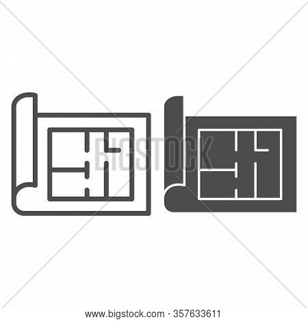 Building Project Line And Solid Icon. House Blueprint Paper Or Home Plan Page Symbol, Outline Style