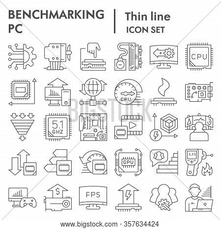 Benchmarking Thin Line Icon Set. Technology And Computer Signs Collection, Sketches, Logo Illustrati
