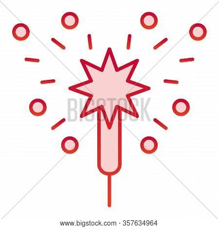 Bengal Fire Color Icon. Party Celebration Light Sparkler Symbol, Gradient Style Pictogram On White B