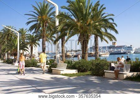Split, Croatia - August 24, 2012: View Of The Embankment In Split. Split Is A City In Croatia Situat