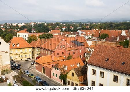 The Upper Town In Zagreb City, View From Above. Zagreb Is The Capital Of Croatia. The Upper Town (go