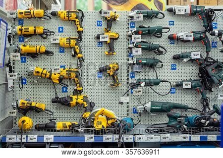 Minsk, Belarus - March 22, 2020: Large Selection Electric Industrial Tools Of Various Manufacturers