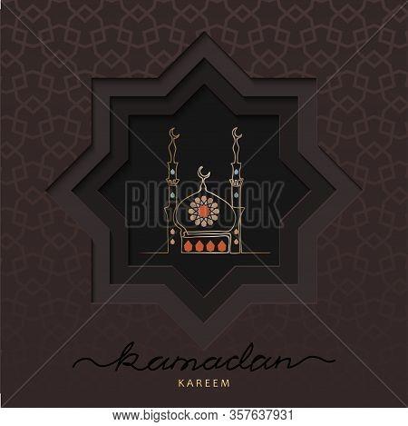 Ramadan Square Card With Vector Mosque Illustration. Vector Papercut Card Design. Dark Paper Cutout