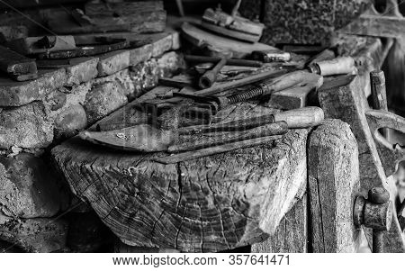 Old Carpentry Tools, Detail Of Tools For Working With Wood