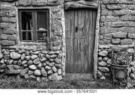 Old Blue Wooden Door, Decoration And Security Detail, Old Door