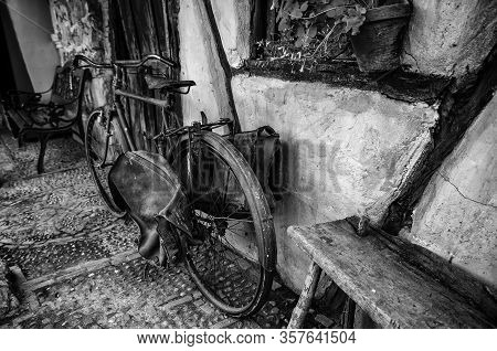 Old Rusty Bicycle, Detail Of Old Transport