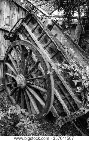 Old Wooden Carriage, Detail Of Old Transport