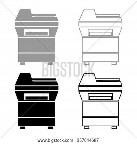 Copy Machine Printer Copier For Office Photocopier Duplicate Equipment Icon Outline Set Black Grey C