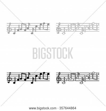 Note Fret Notes Icon Outline Set Black Grey Color Vector Illustration Flat Style Simple Image